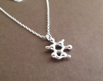 tiny caffeine necklace in solid sterling silver