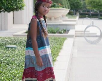 Girls Dress, Toddler Dress, Crossing Paths Striped Girls Dress, Maroon & Grey Cross Stitch Floral Dress, Sizes 1T, 2T, 3T, 4T, 5, 6, 8