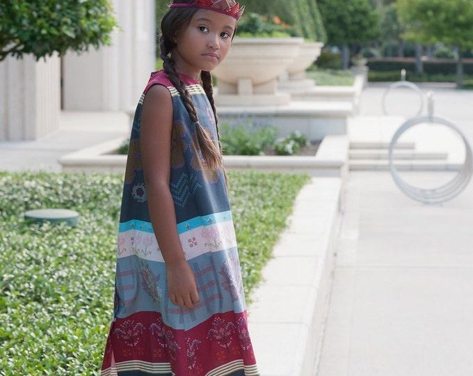 Crossing Paths  Striped Girls' Dress, Toddler Dress, Maroon & Grey Cross Stitch Floral Print, Sizes 1T, 2T, 3T, 4T, 5, 6, 8