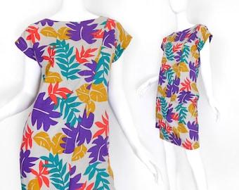 Sz XS 80s Tropical Print Linen Shift Dress - Womens Asymmetrical Kimono Sleeve Knee Length Red Purple Yellow Teal Dress Size 2 4 Extra Small