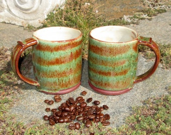 Pair of Handbuilt Mugs in Warm Orange and Green