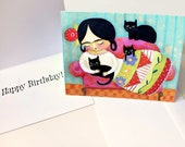 Frida with Black Cats HAPPY BIRTHDAY note card with envelope cute cat folk art painting by TASCHA