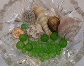 Fresh Green Sea Glass Mix Smooth Round Frosted Bead 6mm, 8mm, 12mm (Qty 36) PH-SGMIX-FRGR