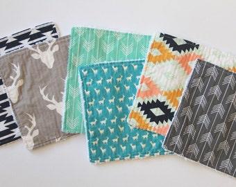 Washcloths - baby washcloths - reusable wipes - reusable washcloths - deer head - Aztec - baby shower gift set -  - deer washcloths - Finney