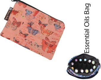 Essential Oil Bag - Essential Oil Pouch - Oil Bags - Waterproof lining fabric - Butterfly Kisses Fabric