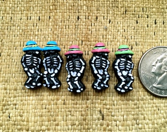 5 Black Painted Dancing Ceramic Skeleton Beads with Hat
