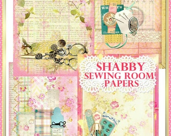 Shabby Sewing Room Collage Papers Set of 4 Scrapbook, Journal INSTANT DOWNLOAD Digital Printable