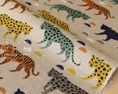 Japanese Fabric Big Cats - green, yellow, grey, orange - 50cm