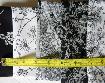 """1/2 Half Yard Cut, 5 Piece Bundle Quilt Fabric, Black and White, """"Ebony & Ivory Line from Benartex, Sewing-Quilting-Craft Supplies"""