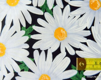 One Half Yard Cut Quilt Fabric, White Daisies with Yellow Centers on Black from Timeless Treasures, Sewing-Quilting-Craft Supplies