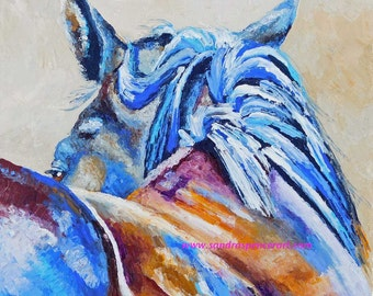 "Original Horse Glance Oil Painting 12""x12"" painted by knife NOT a print"