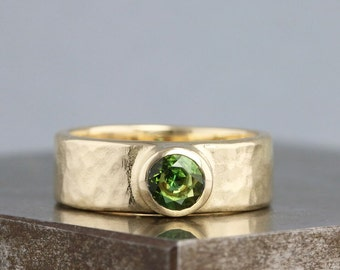 Hammered Textured Solid 14k Yellow Gold Ring with Olive Green Tourmaline - Wide Ring for Her - Alternative Engagement Ring - Made to Order