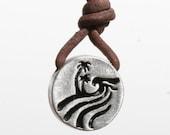 Surfer Necklace Round Pewter Pendant Hawaiian jewelry Zulasurfing Jewelry