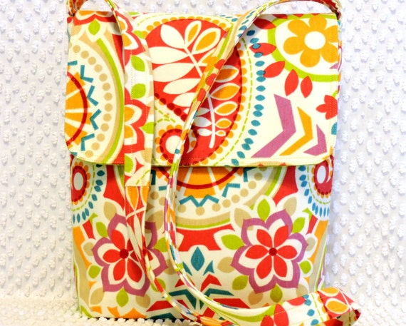 Crossbody Messenger Bag Purse - Shoulder Bag - Hobo Bag - Ladies Handmade Pink and Orange Euro Paisley Floral Fabric Crossbody Handbag Purse