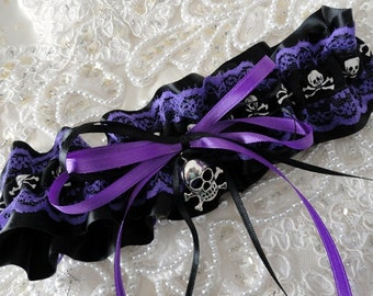 Newest Skull & Crossbones Garter-Goth-Pirate-Halloween-Raver-Costume-Prom-Bachelorette-Biker-Colors Available