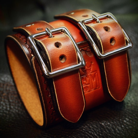 Leather cuff Bracelet Red watchband Vintage Johnny Depp style wristband Handmade for YOU in New York by Freddie Matara
