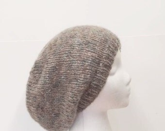 Knitted slouch hat,   soft tan and blue handmade large size  5194