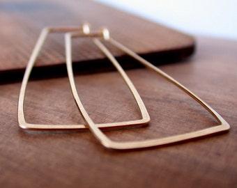 Rectangle Hoop Earrings. Silver Hoop Earrings. Gold fill Hoops. Rose gold Hoops. Lightweight Hoops.