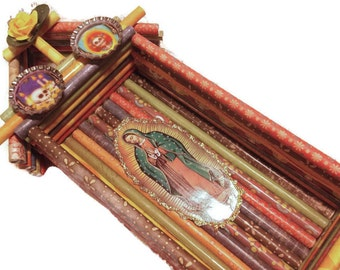 Scrapbook Paper Mexican Guadalupe Shrine Nicho Muertos Bottlecaps