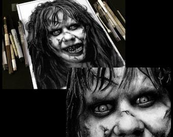Regan MacNeil - Original Drawing - Exorcist Horror Vintage Classic Dak Art Creepy Scary Priest Gothic Serial Killer Evil Devil Girl Surreal