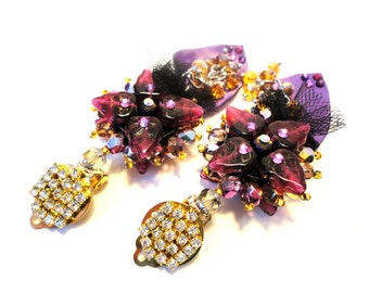 """Girls just want to have fun, """"Back to Couture"""" collection, purple-burgundy and golden tones, rhinestone clip earrings"""