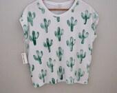 Green cactus print t shirt. Block printed on organic modal spandex jersey. xs,s, m, l