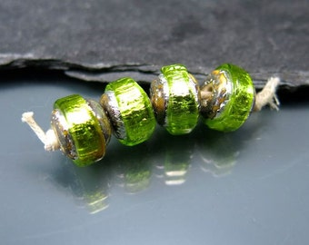 Made to order Handmade Lampwork Nugget Beads by GlassBeadArt … Light green Sparkling Rocks ... SRA F12 ... 10x12mm