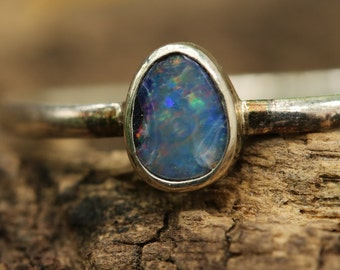 Blue Australian opal with sterling silver high polished band