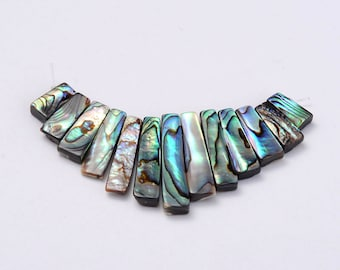 Green Blue Paua Shell Mini Cleopatra Collar Gemstone Fan Graduated Stick Beads