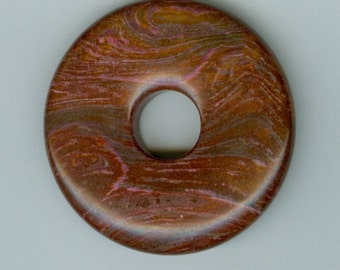 45mm Dark Brown and Pink Agate PI Donut Pendant Gemstone Bead 461 (D)