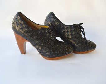 woven oxford shoes / lace up heel black shoes / 8