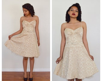 50s vintage style DAMASK  fitted dress / small
