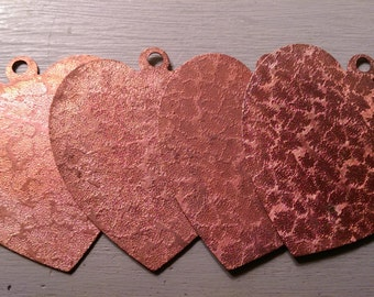 Oversized Coppery Textured Heart Vintage Pendant Base Finding LOT A