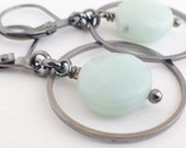 Everyday Earrings - amazonite genuine stone - Hoop, Bridesmaid, Active Women Jewelry