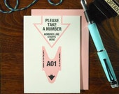 letterpress please take a number admirer greeting card pastel pink and black on bright white