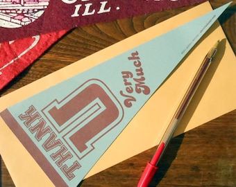 letterpress thank u very much vintage pennant flat card pack of 6 grey & burgandy thank you card or decoration