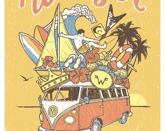 Weezer Mustard Yellow Summer Tour 2016 Surf Beach Gigposter Poster by GIGART