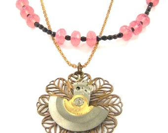 Steamy Rose Opal Plum  .... Steampunk Victorian Filigree Beaded Necklace One of a Kind