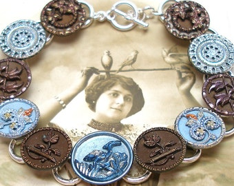 "French BUTTON bracelet, Victorian BIRD & flowers, 7.75"" Antique button jewellery, jewellery."