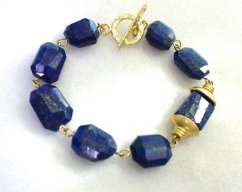 Very Fine Lapis Nuggets, 24k Gold Vermeil Accented Gemstone Bracelet...