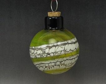Handmade Lampwork Glass Blown Hollow Ornament by Jason Powers SRA (strike yellow 1)