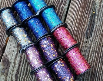 Sequins and Lurex Yarns for on Spools for Weaving Knitting Felting Art Yarn Spinning Scrapbooking and Crafting