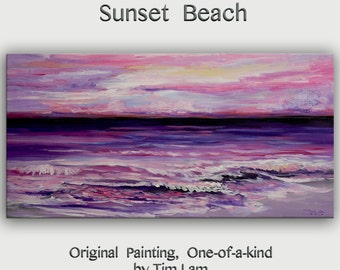 Original abstract painting Sea art Purple Beach Wave on gallery wrap canvas acrylic painting home art by tim Lam 48x24