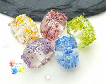 Lampwork Beads Rainbow Blossoms