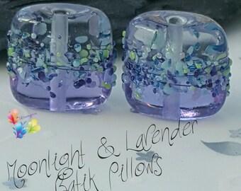 Lampwork Beads Moonlight & Lavender Batik Pillow Pair Shiny