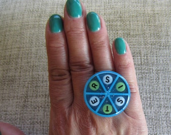 SISTER-  Upcycled Trivial Pursuit adjustable ring - Blue