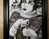 Flapper, 20s, snow, portrait, pen and ink, black and white, illustration, Dame Darcy
