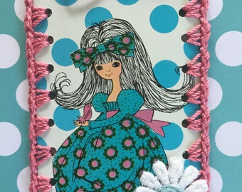 Vintage Playing Card Book Mark / Ornament / Tag -  Crochet Flower Power Girl in Blue