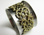 SALE Ornate Brass and Sterling Silver Spinner Ring