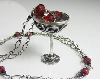 SALE A Drink for a Feast Necklace - Sterling silver filigree goblet with fire opal, black tourmaline and ruby